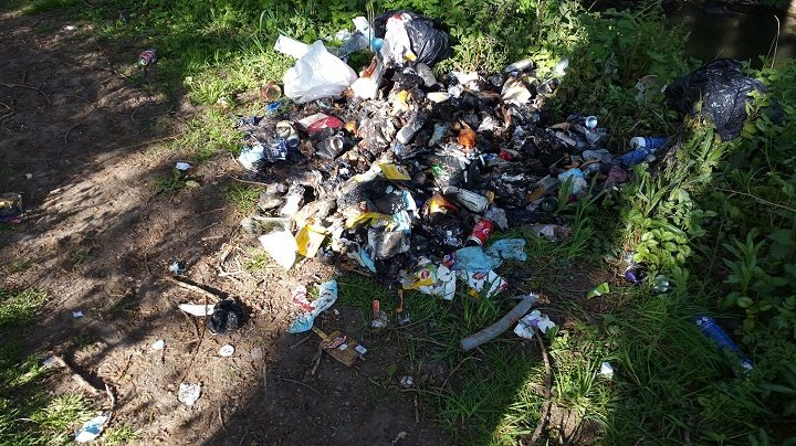 Rubbish that has been burnt in South Ribble