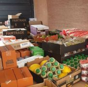 Donated food piles up ready to be sorted by Preston's Promise Pic: Preston's Promise