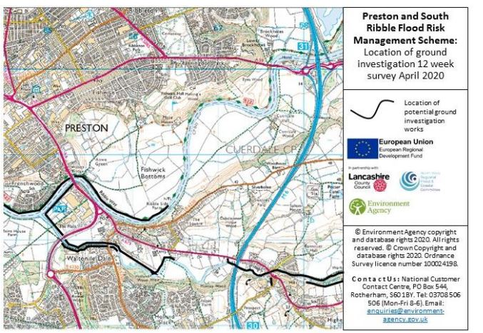 Where the ground investigation works are due to take place Pic: Environment Agency