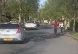 Residents dancing to Sweet Caroline in Highgate, Penwortham Pic: Paul Caton