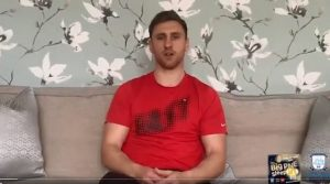 Louis Moult recorded the message from his sofa: Pic: Preston North End
