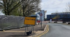 The drive-through coronavirus testing facility at Preston's College Pic: StePNE