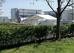 A marquee has been erected as part of the testing facility Pic: Andy Speariett