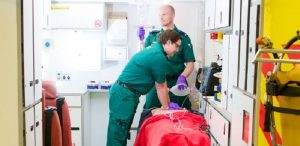Paramedic students undertaking training Pic: UCLan