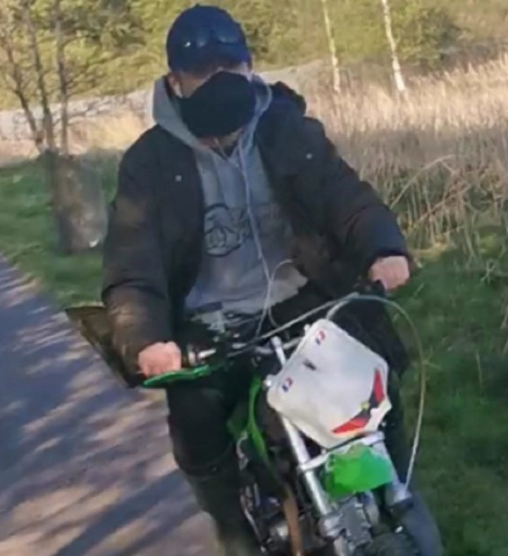 Picture released by police of the scrambler bike on the Guild Wheel Pic: Preston Police