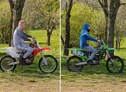 Police have released pictures of two men on 'distinctive' bikes they want to speak to Pic: Preston Police
