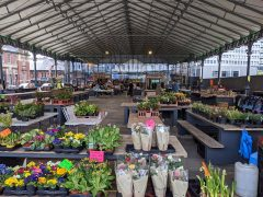 Flower stalls being set up at Preston Outdoor Market pre-lockdown Pic: Tony Worrall