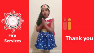 """""""Wonder Woman"""" says thank you to our firefighters for their courageousness"""