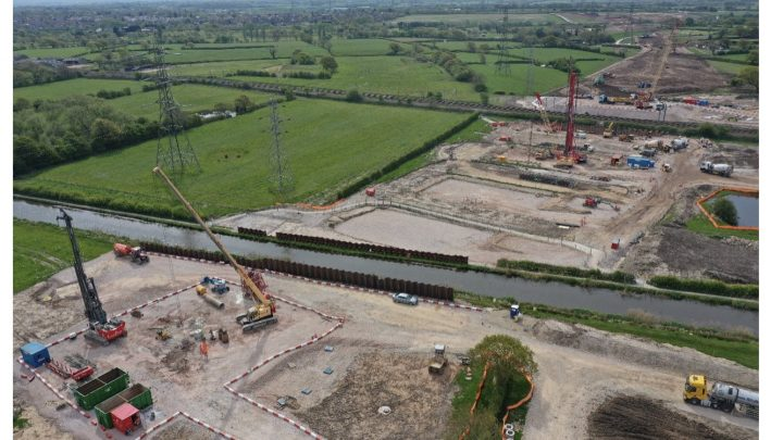 Cranes in place as work continues to cross the canal Pic: Stephen Young/LCC