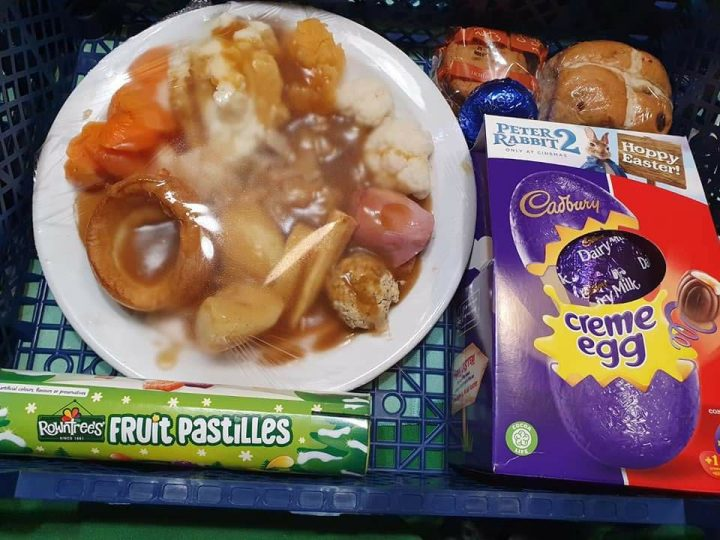 One of the meals made by the landlords which was delivered on Easter Sunday