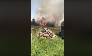 Screenshot from video of Longridge Fell fire Vid: Hilary Miller