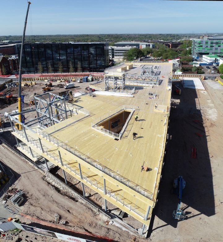 The new Student Centre rises against the Preston skyline