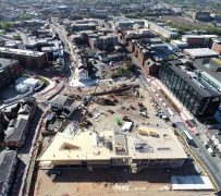Drone shot shows the scale of the project from above