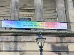 The banner unveiled on the Harris Pic: Blog Preston