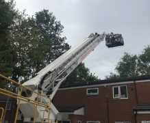The cat had to be rescued by firefighters using the aerial ladder Pic: Preston Fire Station