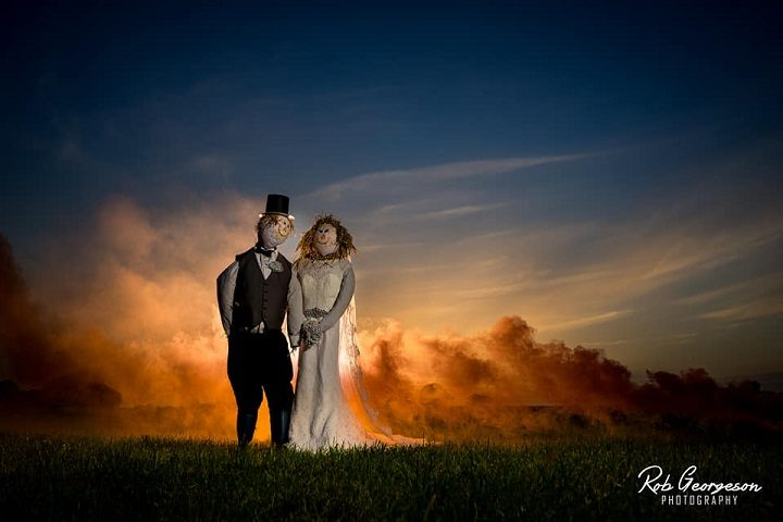 The scarecrows in their 'just married' photo - somewhere in a field in Cottam Pic: Rob Georgeson