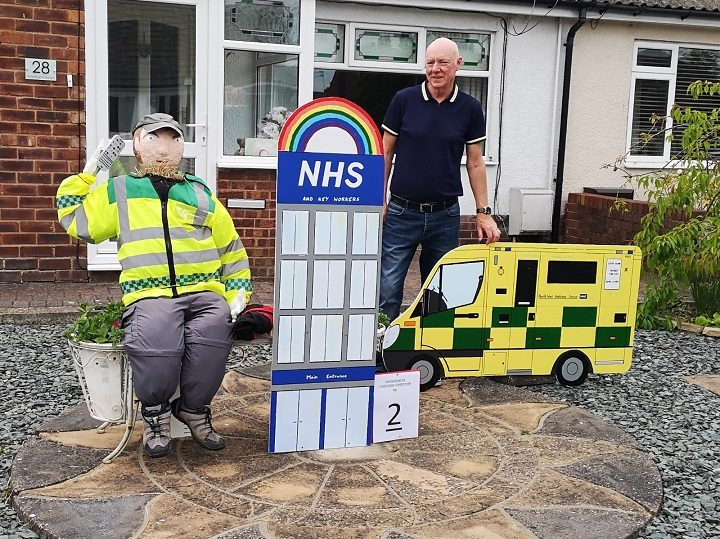 Hoghton resident Geoff Brown with his paramedic scarecrow display