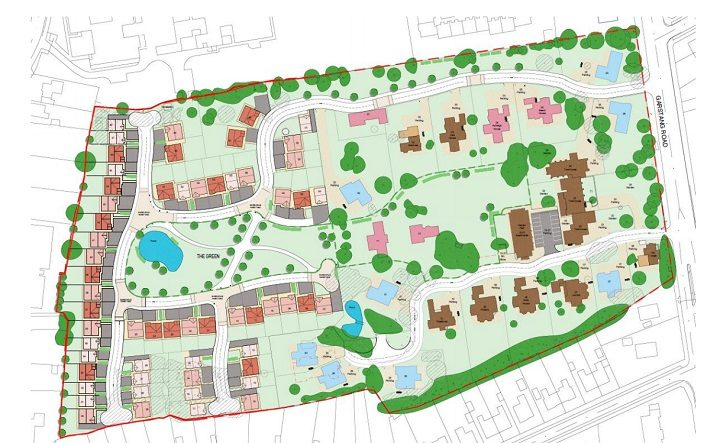 The outline plan for the new homes on the orphanage site