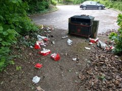 A bin surrounded by litter from takeaway diners Pic: Antoni Squires/Blog Preston