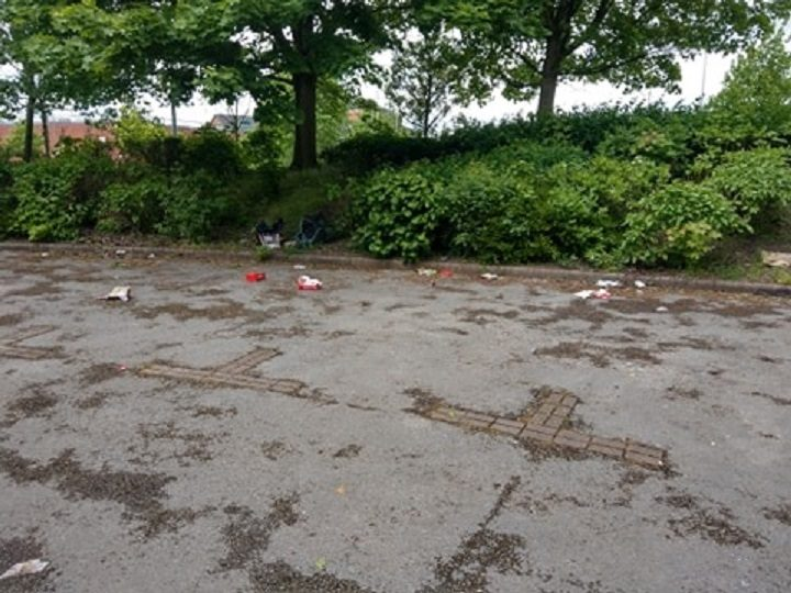 Rubbish from KFC meals across one of the car parks Pic: Antoni Squires/Blog Preston