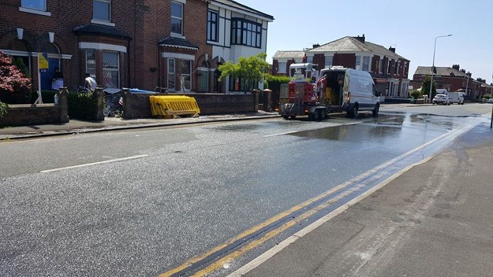 The burst water main in Lytham Road Pic: Di Guzik