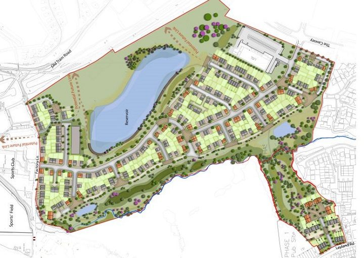 A proposed aerial view of the Penwortham Mills site