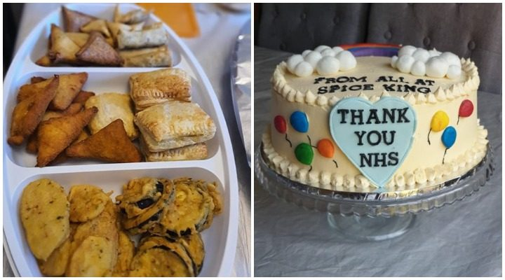 Some of the food delivered to NHS workers and the cream cake thanking them