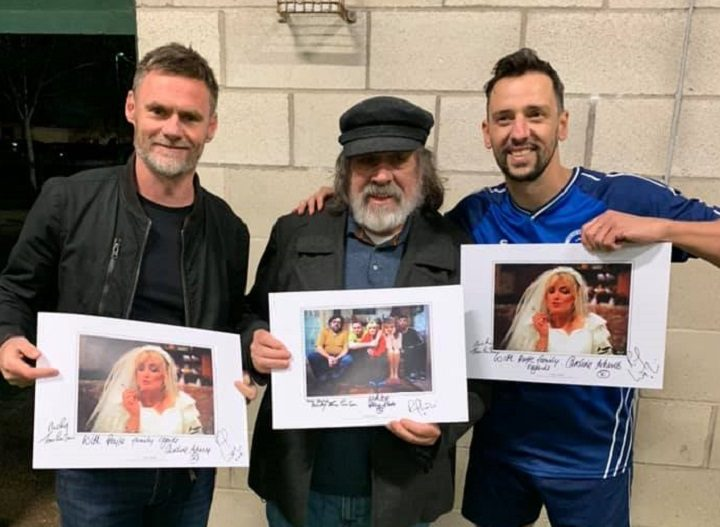 Ricky Tomlinson and Ralf Little at the Sir Tom Finney Soccer Centre