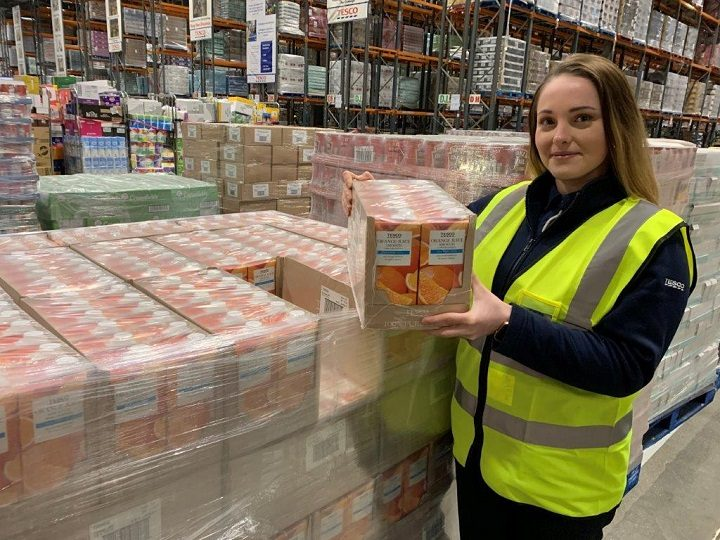 Warehouse co-ordinator Bianka Santorisova with some of the food and drink destined for FareShare