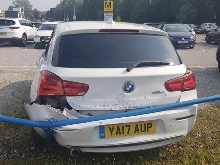 Nazia Hussain's damaged BMW