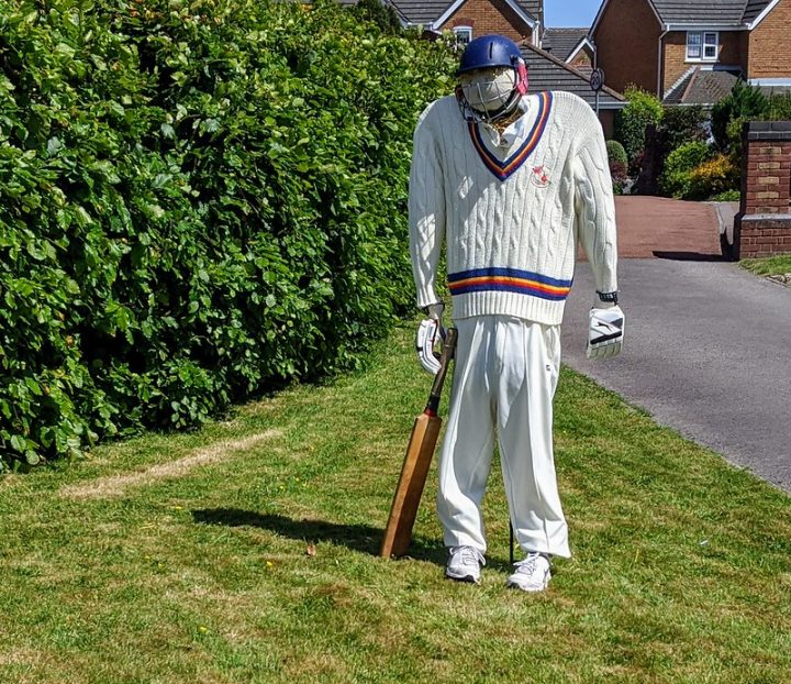 Scarecrow cricketer
