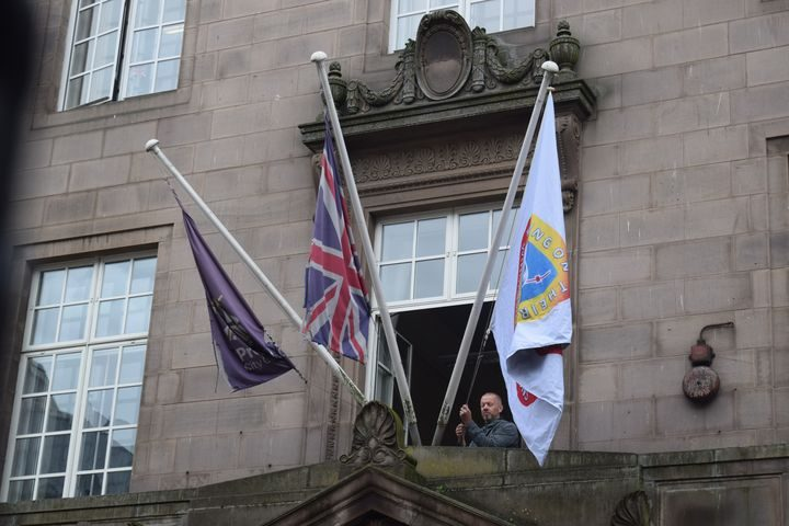Windrush flag outside Preston Town Hall.