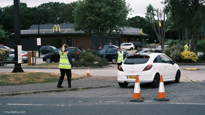 Stewards directing traffic at the McDonalds on the Docks Pic: Paul Melling