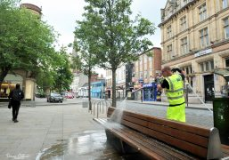 Preston BID Preston cleaning crew disinfecting street furniture Pic: Donna Clifford