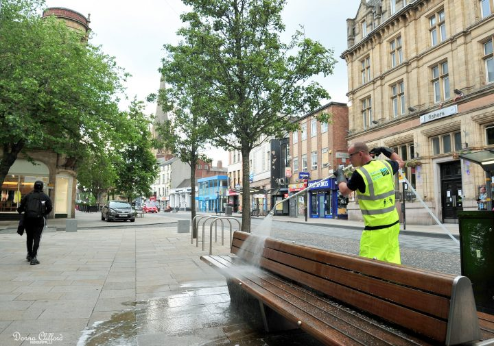 Last minute preparations for the reopening of the city centre shops, BID Preston cleaning crew Pic: Donna Clifford