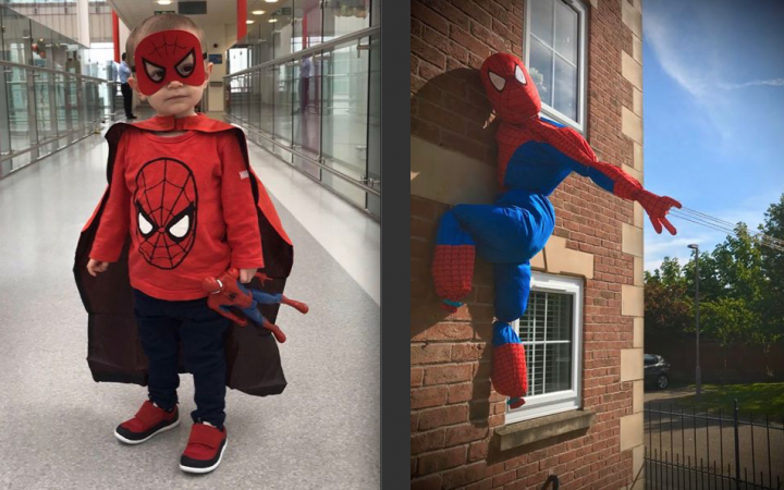 Jacob Willett dressed as Spiderman, and the Willett's Spiderman scarecrow