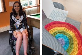 Jess and the crocheted rainbow gift