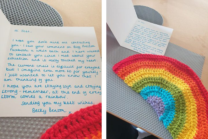 The card and rainbow from Becky