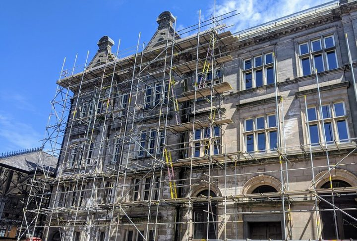 Scaffolding at the Shankly Pic: Tony Worrall