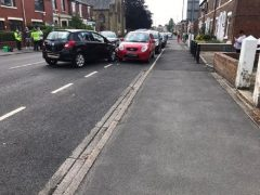 The black Vauxhall Astra crashed this morning in Station Road near St Aidens Church