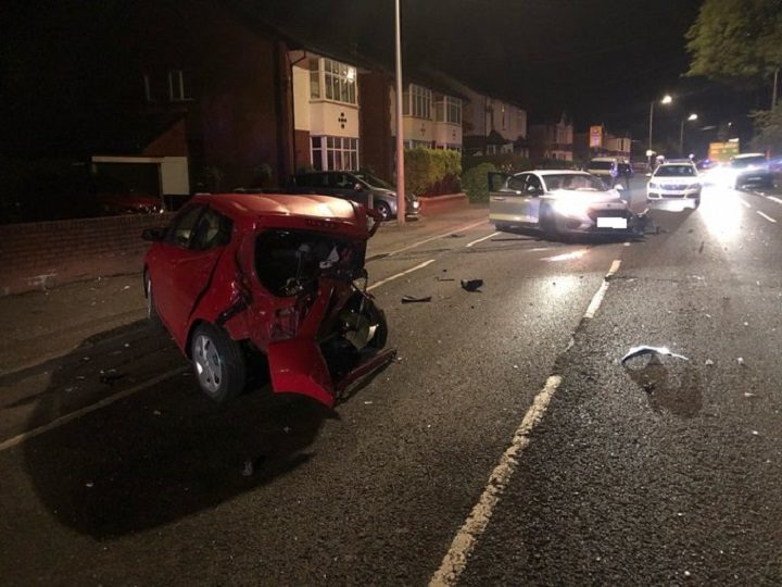 Two of the damaged cars in Black Bull Lane Pic: LancsRoadPolice