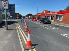 The cycle lane down Fylde Road