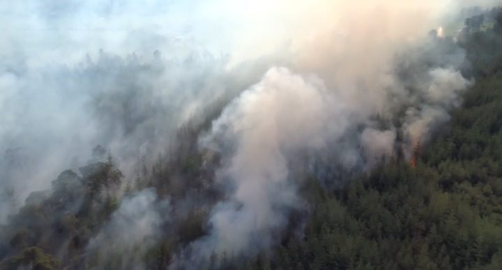 Drone footage showing the smoke plume at Longridge Fell Pic: Lancashire Fire and Rescue Service