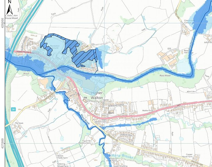 Impact of any potential flooding on Higher Walton