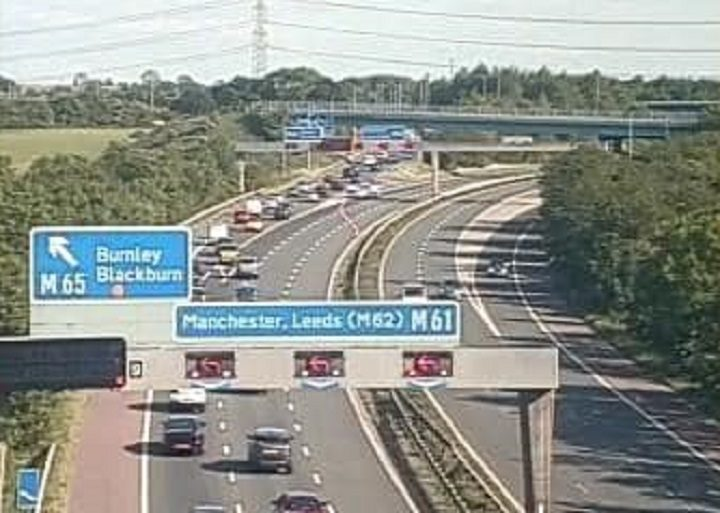 Traffic being diverted off the M61 at Junction 9 southbound Pic: Highways England