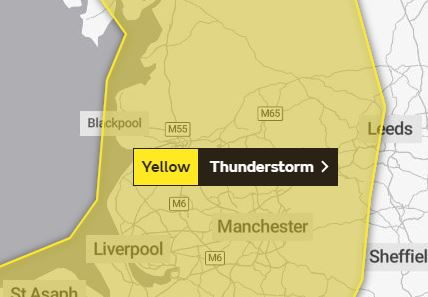 Area covered by the latest Met Office warning