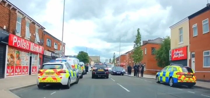 Police cordon in place along New Hall Lane Pic: Bill Whittle