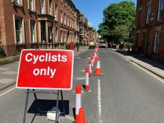 The temporary cycle lane in Winckley Square