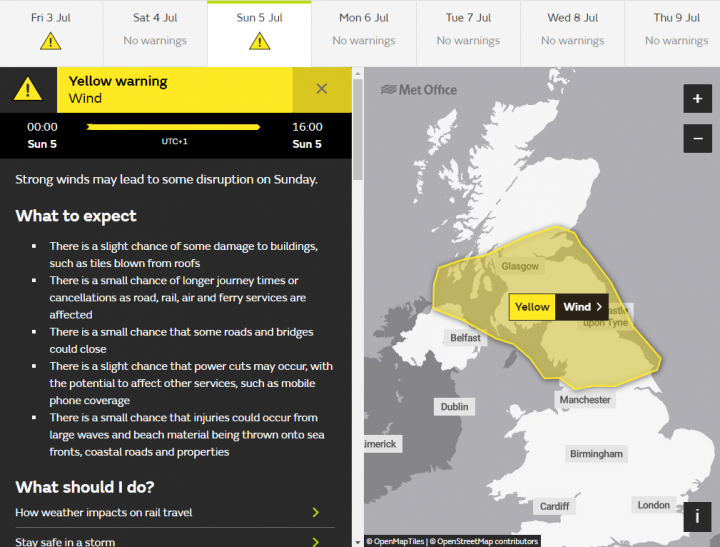 A yellow weather warning is in place for Sunday as strong winds are expected.