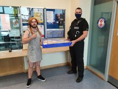 Chris delivering to Preston Police